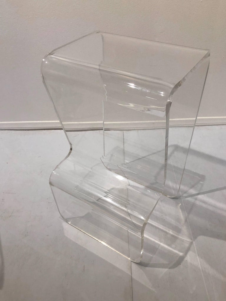 Pair of Lucite Counter Stools with Footrest in the Style of Charles Hollis Jones 2
