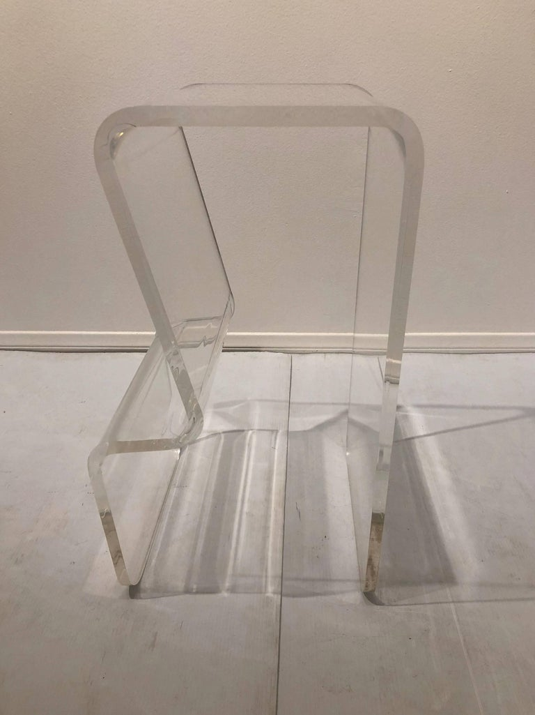 Post-Modern Pair of Lucite Counter Stools with Footrest in the Style of Charles Hollis Jones For Sale