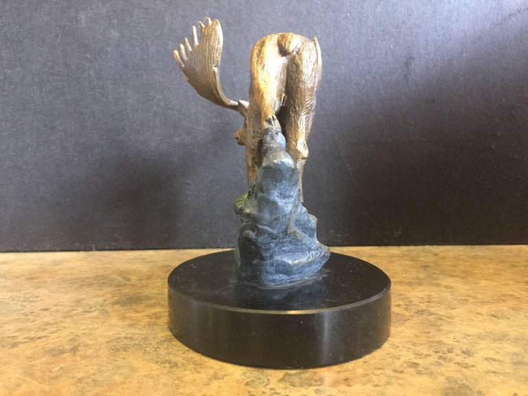 Bronze Painted Moose Sculpture on Marble Base In Excellent Condition For Sale In San Diego, CA