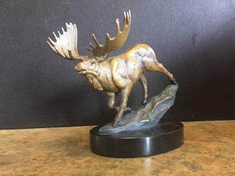 20th Century Bronze Painted Moose Sculpture on Marble Base For Sale