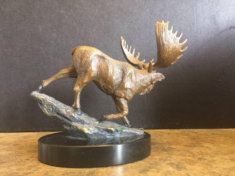 Cast Bronze Painted Moose Sculpture on Marble Base For Sale