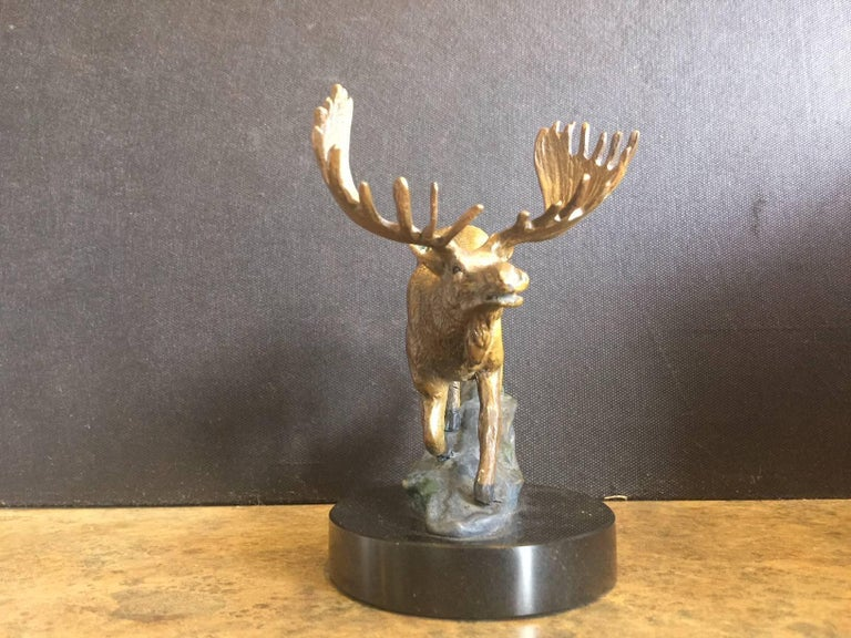 American Bronze Painted Moose Sculpture on Marble Base For Sale