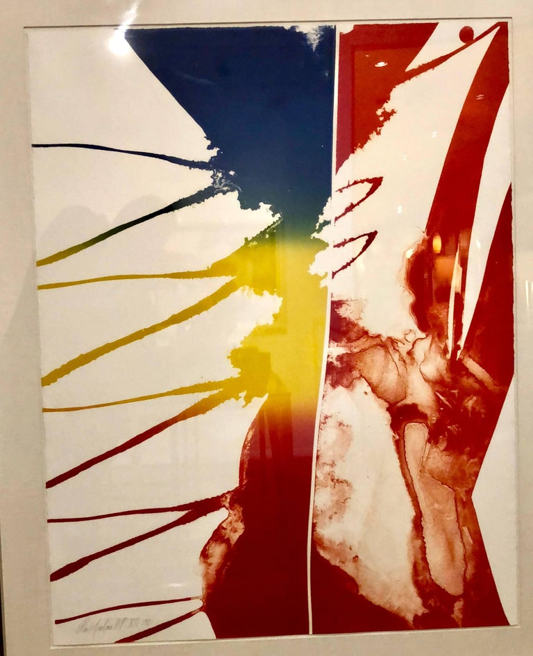 Striking Large Framed Abstract Signed Color AP Litho by Paul Jenkins, 1981 2