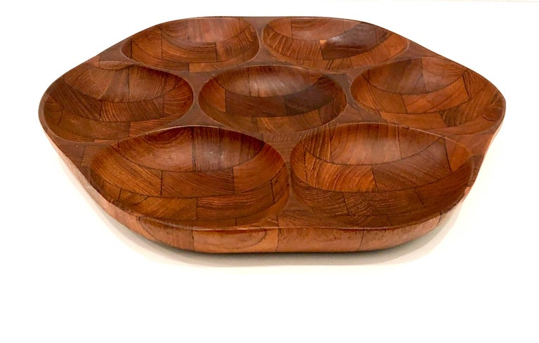 Scandinavian Modern Danish Modern Solid Teak Condiment Tray Attributed to Digsmed For Sale