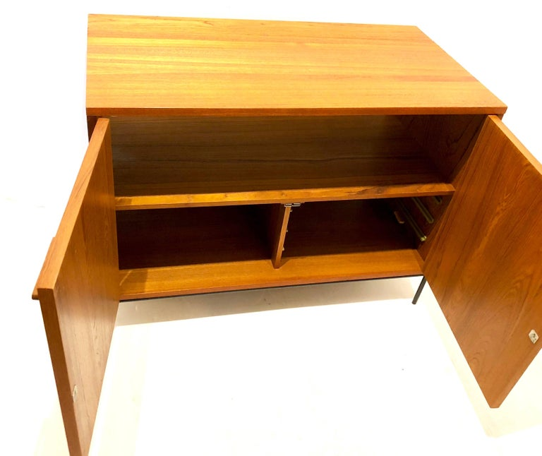 20th Century Danish Modern Teak Mini Stereo Cabinet with Iron Base Lift Top or Double-Door For Sale
