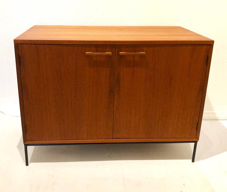 Danish Modern Teak Mini Stereo Cabinet with Iron Base Lift Top or Double-Door For Sale 1