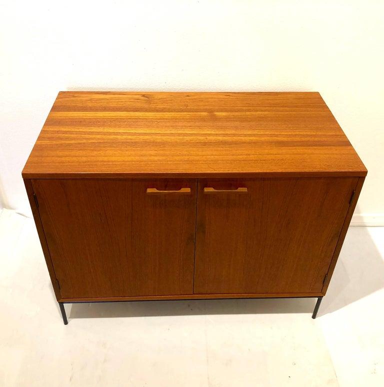 Scandinavian Modern Danish Modern Teak Mini Stereo Cabinet with Iron Base Lift Top or Double-Door For Sale