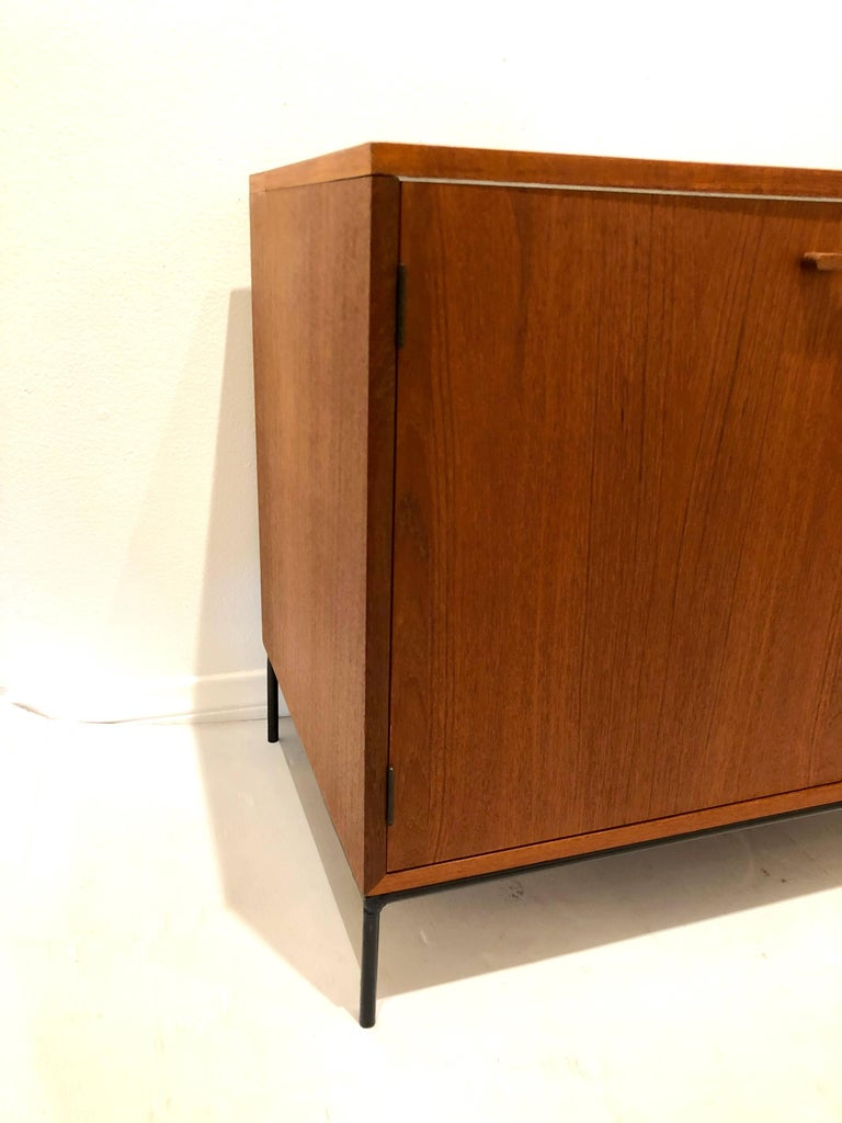 Danish Modern Teak Mini Stereo Cabinet with Iron Base Lift Top or Double-Door For Sale 2