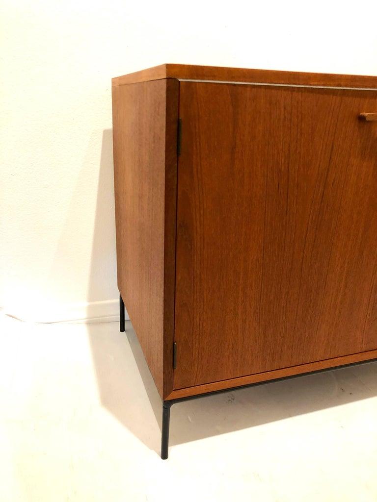 Danish Modern Teak Mini Stereo Cabinet with Iron Base Lift Top or Double-Door 7