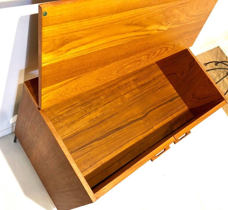Danish Modern Teak Mini Stereo Cabinet with Iron Base Lift Top or Double-Door 4