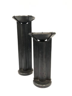 "Pair of Modernist Solid Hand Hammered Iron Candle Sticks Stamped ""H"""
