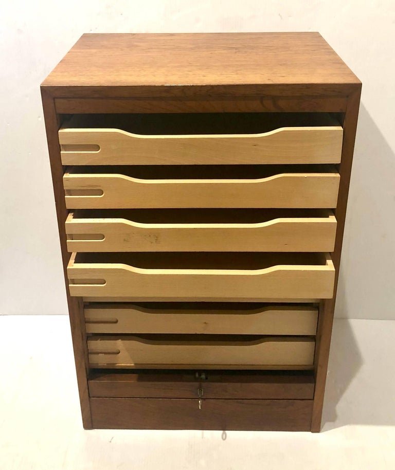 Scandinavian Modern Danish Modern Tambour Door File Cabinet with Multi Drawer and Lock Key For Sale