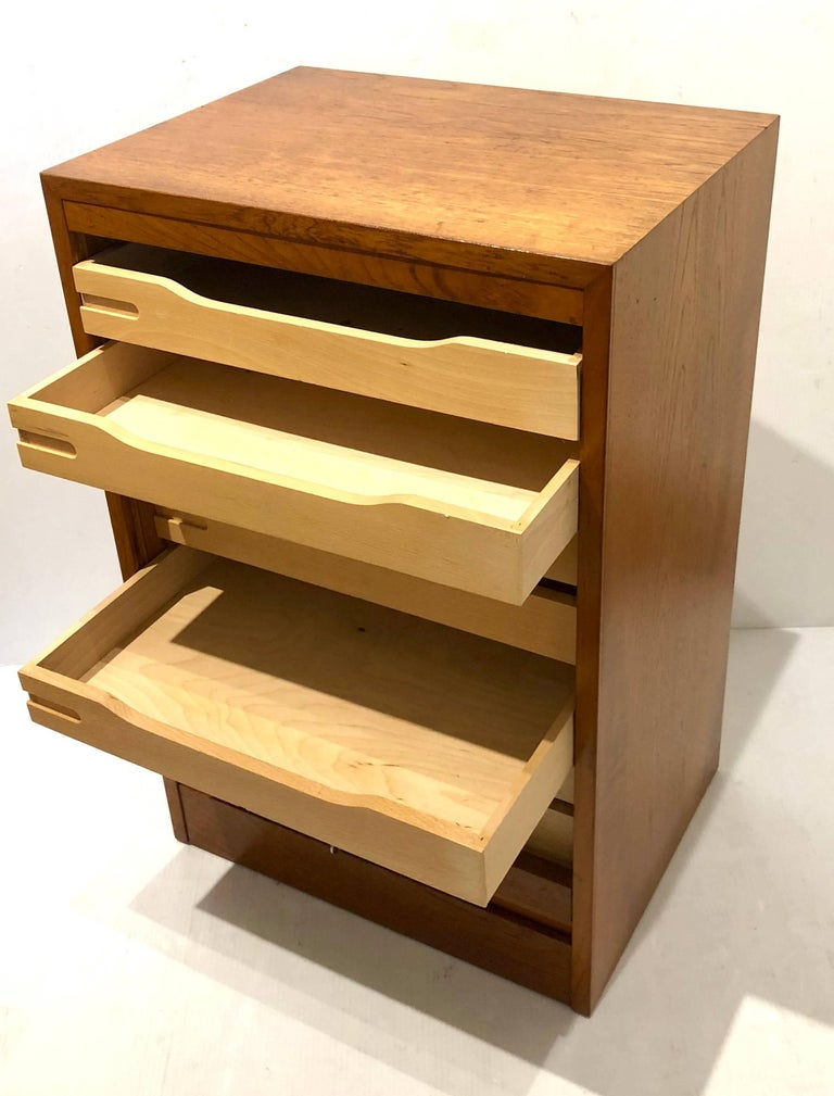 20th Century Danish Modern Tambour Door File Cabinet with Multi Drawer and Lock Key For Sale