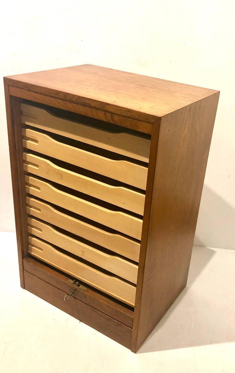 Danish Modern Tambour Door File Cabinet with Multi Drawer and Lock Key In Good Condition For Sale In San Diego, CA