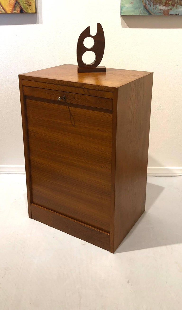 Danish Modern Tambour Door File Cabinet with Multi Drawer and Lock Key For Sale 1