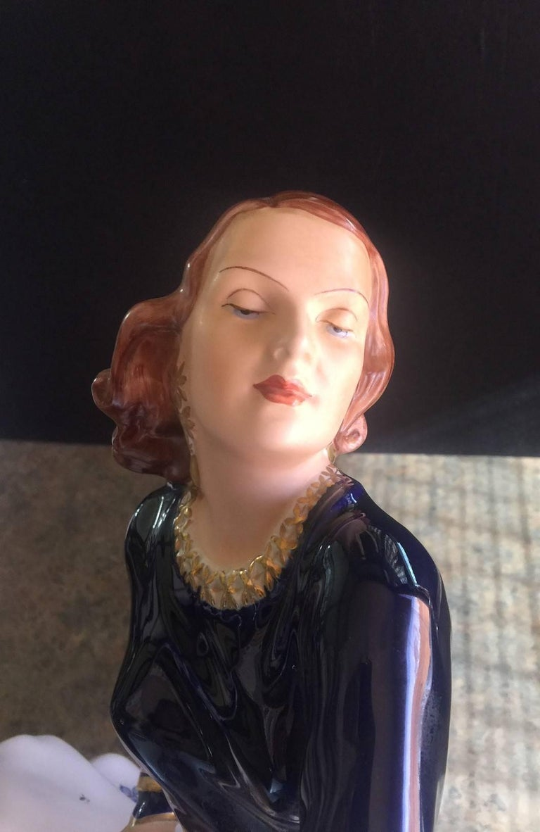 Large Porcelain Statued Depicting Rita Hayworth by Royal Dux For Sale 2