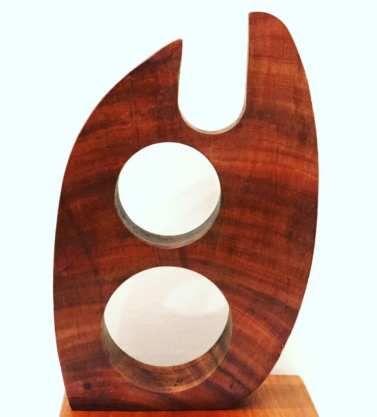 Mid-Century Modern Abstract Solid Walnut Small Sculpture For Sale 3
