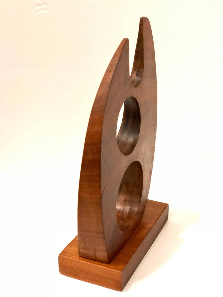 Mid-Century Modern Abstract Solid Walnut Small Sculpture In Excellent Condition For Sale In San Diego, CA