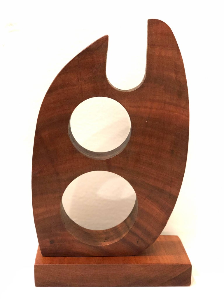 Mid-Century Modern Abstract Solid Walnut Small Sculpture For Sale 1