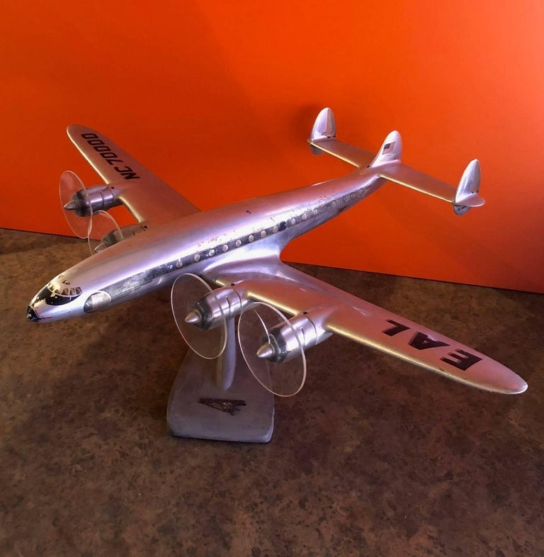Very rare Lockheed Corporation L-1049 Super Constellation (Connie) Eastern Airlines model airplane, circa 1950s. The plane is massive measuring 26.5
