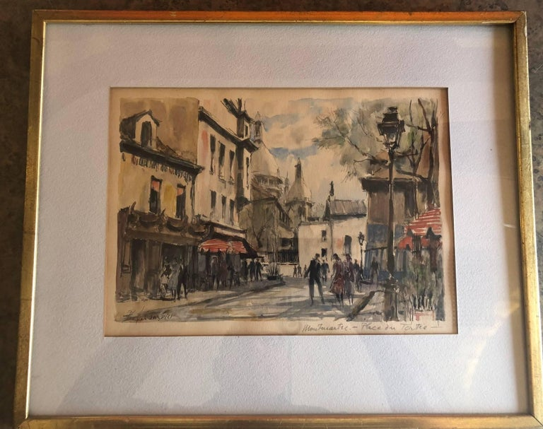 20th Century Paris Street Scene Watercolor by Pierre Eugene Cambier For Sale