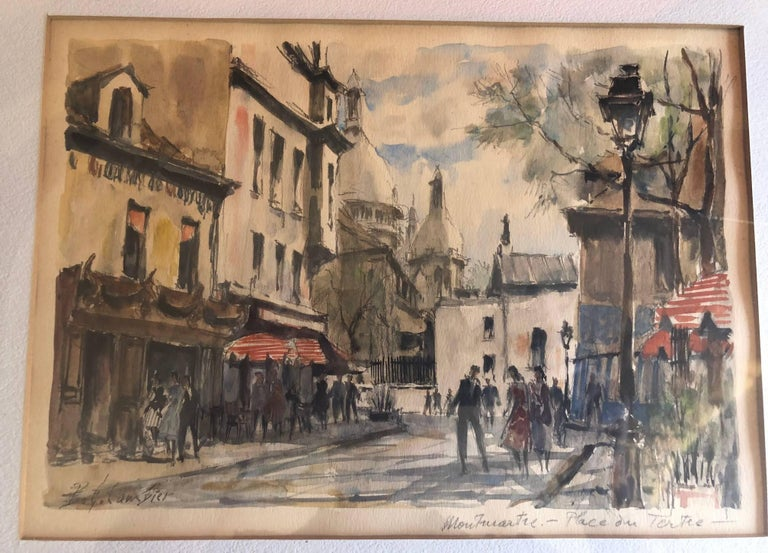 Mid-Century Modern Paris Street Scene Watercolor by Pierre Eugene Cambier For Sale