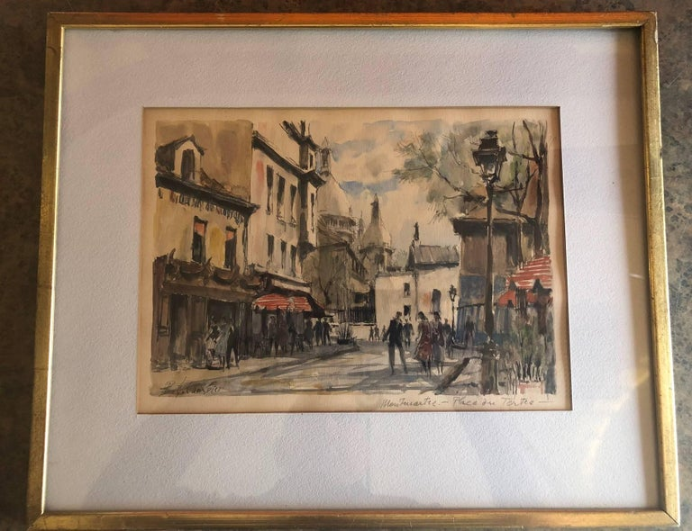 Paris Street Scene Watercolor by Pierre Eugene Cambier In Good Condition For Sale In San Diego, CA