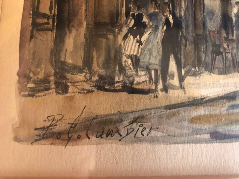 Paris Street Scene Watercolor by Pierre Eugene Cambier For Sale 1