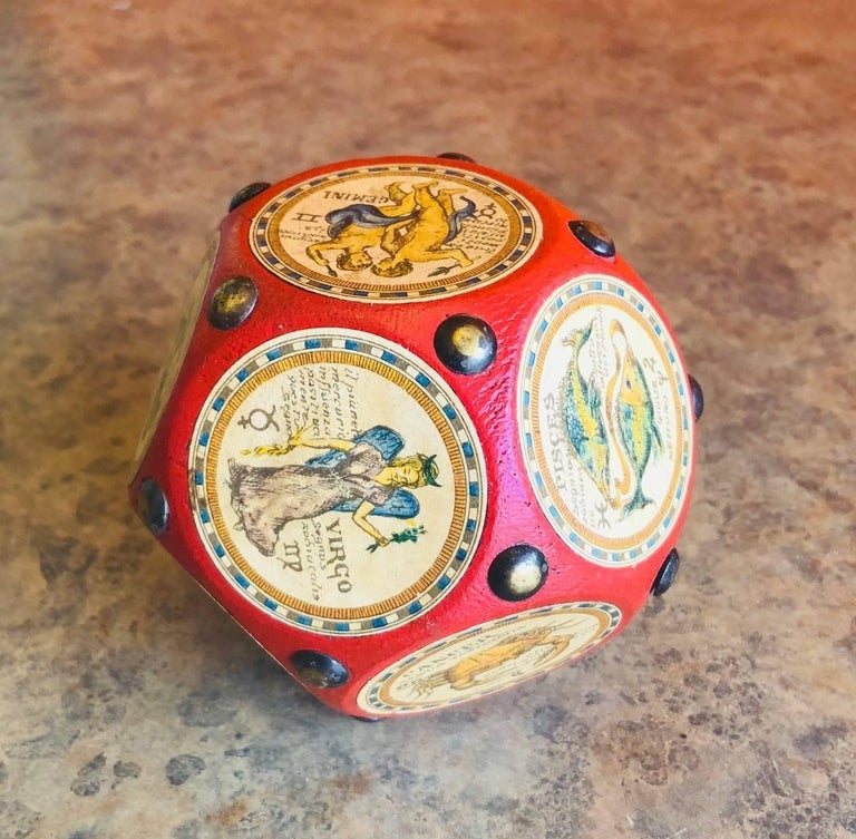 20th Century Italian Leather and Wood Zodiac Signs Dodecahedron Paperweight  For Sale
