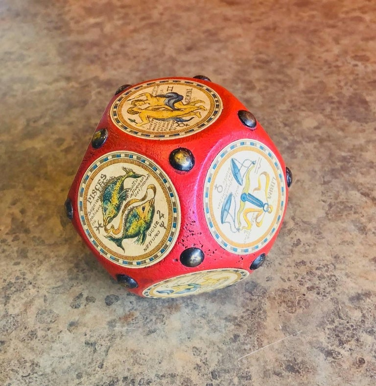 Italian Leather and Wood Zodiac Signs Dodecahedron Paperweight  For Sale 1