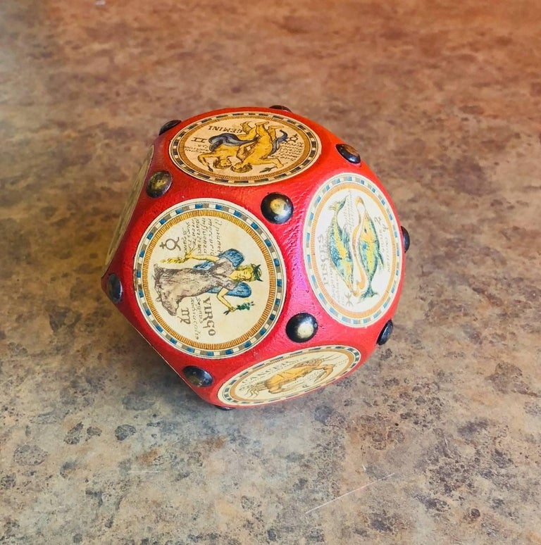 Italian Leather and Wood Zodiac Signs Dodecahedron Paperweight  In Excellent Condition For Sale In San Diego, CA