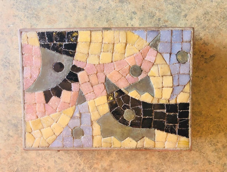 Mid-Century Modern Midcentury Glass Mosaic and Brass Lidded Box by Salvador Teran For Sale