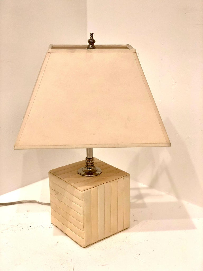 Petite Cream Parchment Leather Cube Table/Desk Lamp In Excellent Condition For Sale In San Diego, CA