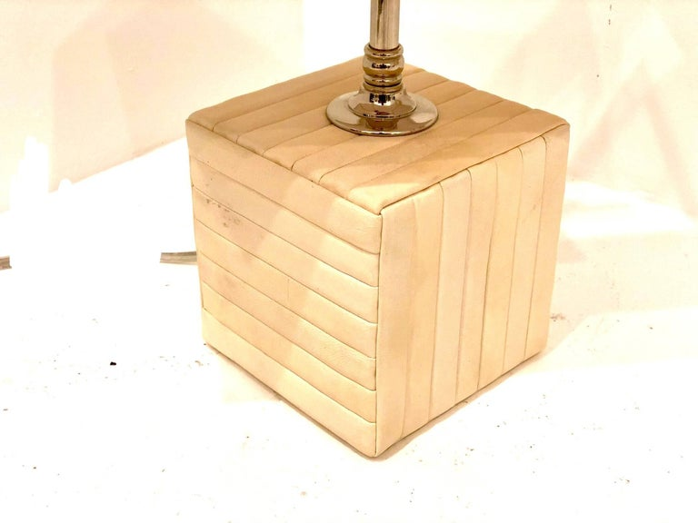 20th Century Petite Cream Parchment Leather Cube Table/Desk Lamp For Sale