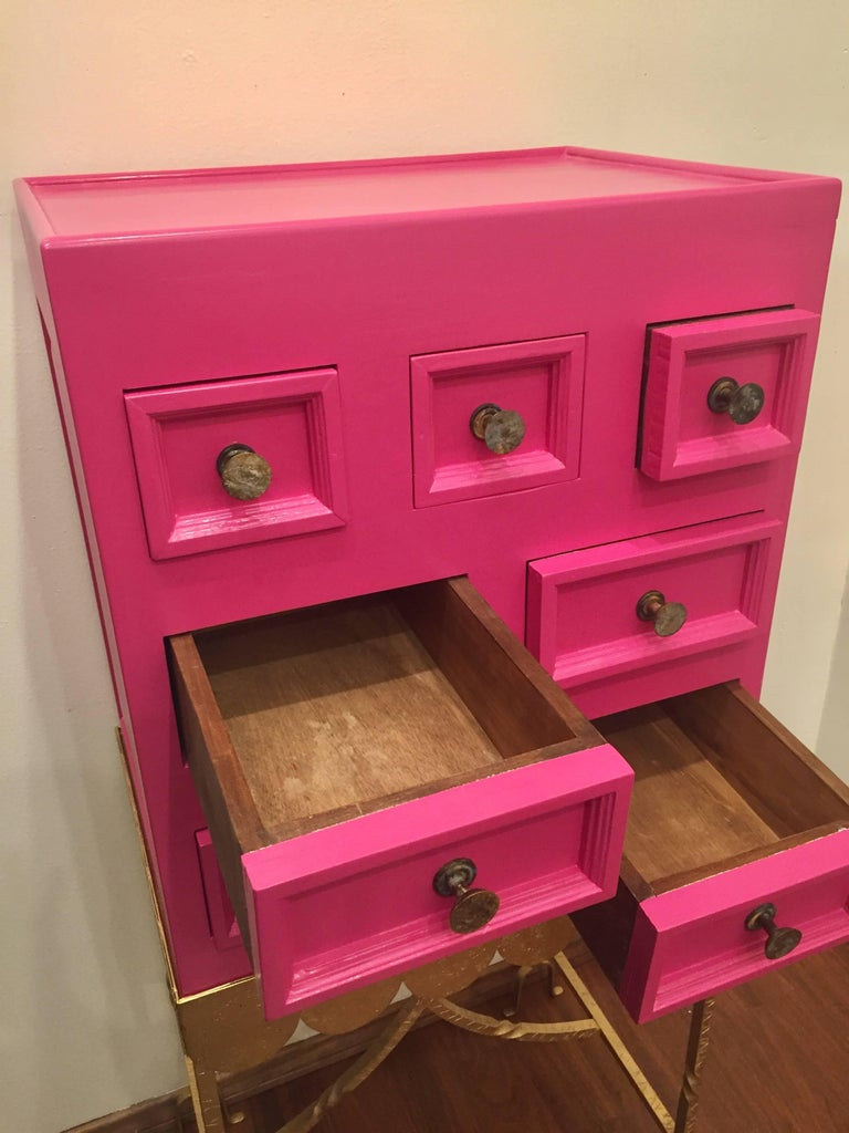 1970s Pink Lacquered Cabinet For Sale 4