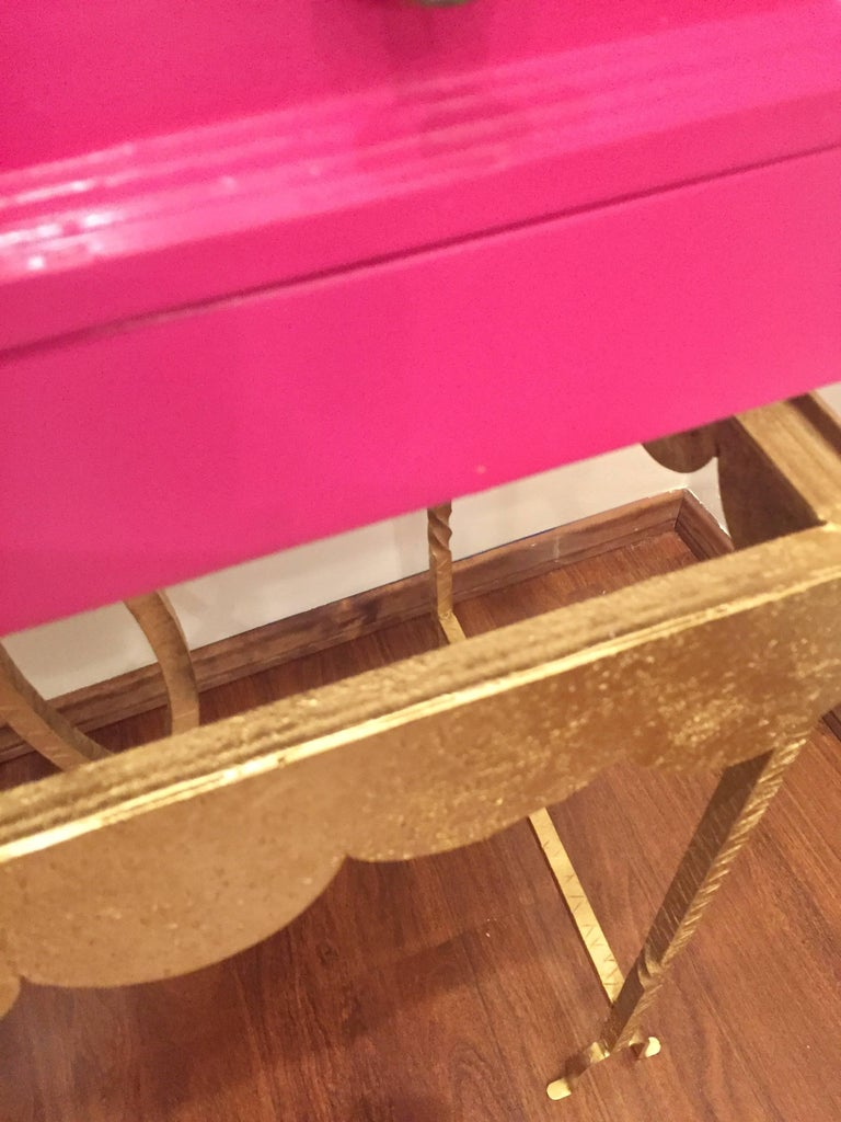 Unknown 1970s Pink Lacquered Cabinet For Sale