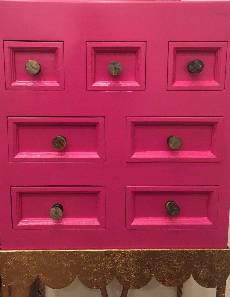 1970s Pink Lacquered Cabinet For Sale 2