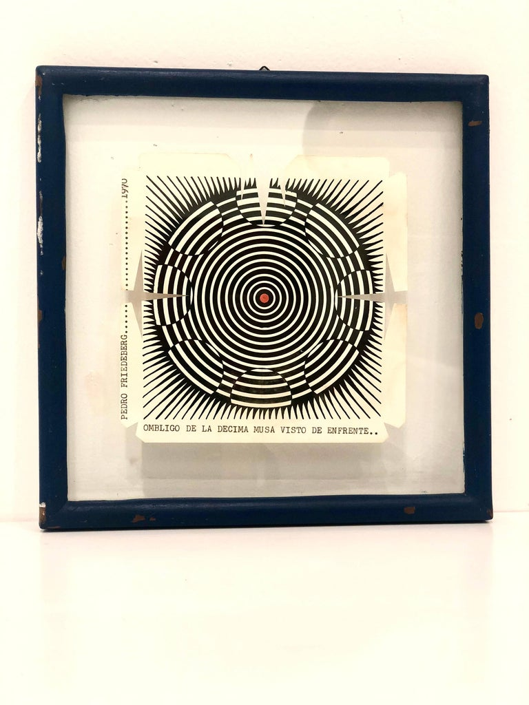 Rare Wood Block Cut by Pedro Friedeberg in Original Frame, 1970 For Sale 1