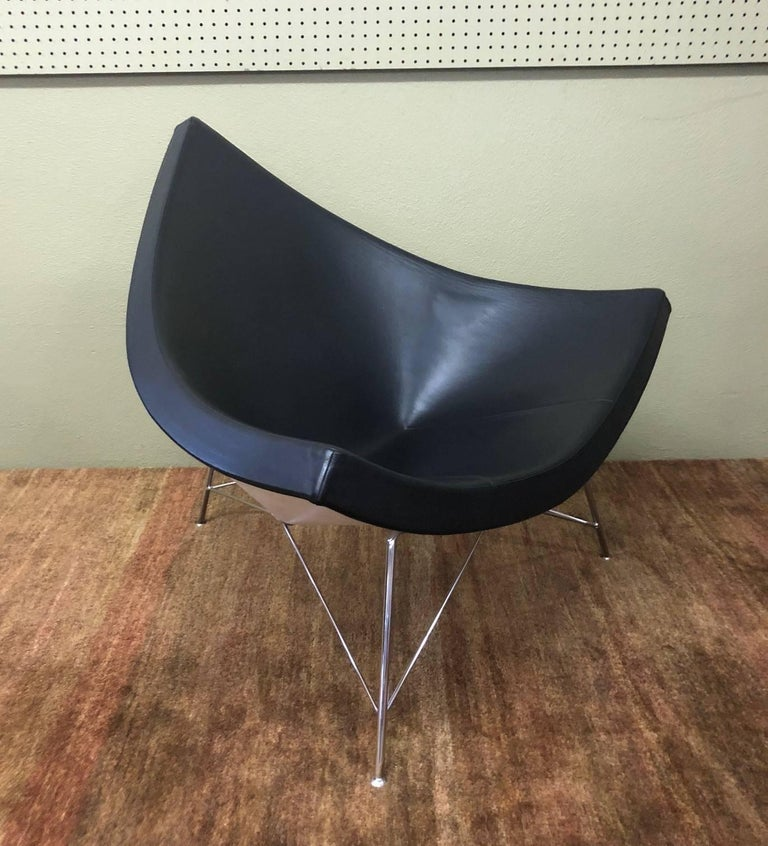 German Black Leather and Chrome Coconut Chair by George Nelson for Herman Miller For Sale