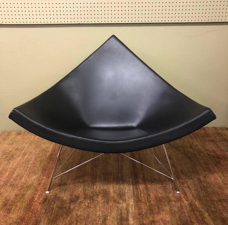 Mid-Century Modern Black Leather and Chrome Coconut Chair by George Nelson for Herman Miller For Sale