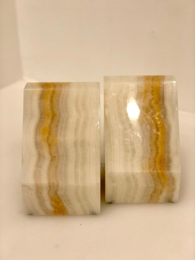 American Pair of Midcentury Solid Onyx Bookends For Sale