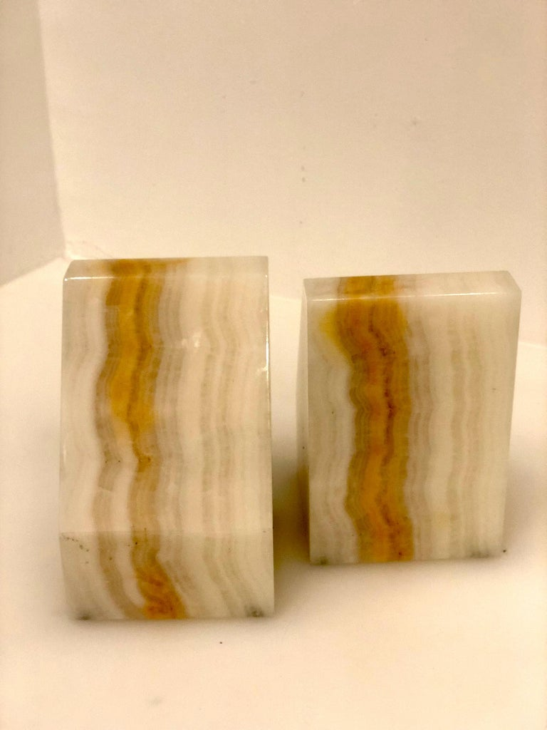 Pair of Midcentury Solid Onyx Bookends In Excellent Condition For Sale In San Diego, CA