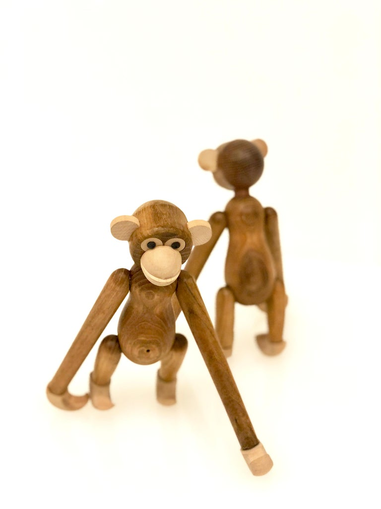 Japanese Pair of Danish Modern Articulated Toy Monkeys For Sale