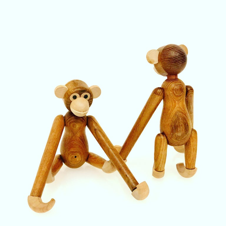 Pair of Danish Modern Articulated Toy Monkeys In Excellent Condition For Sale In San Diego, CA