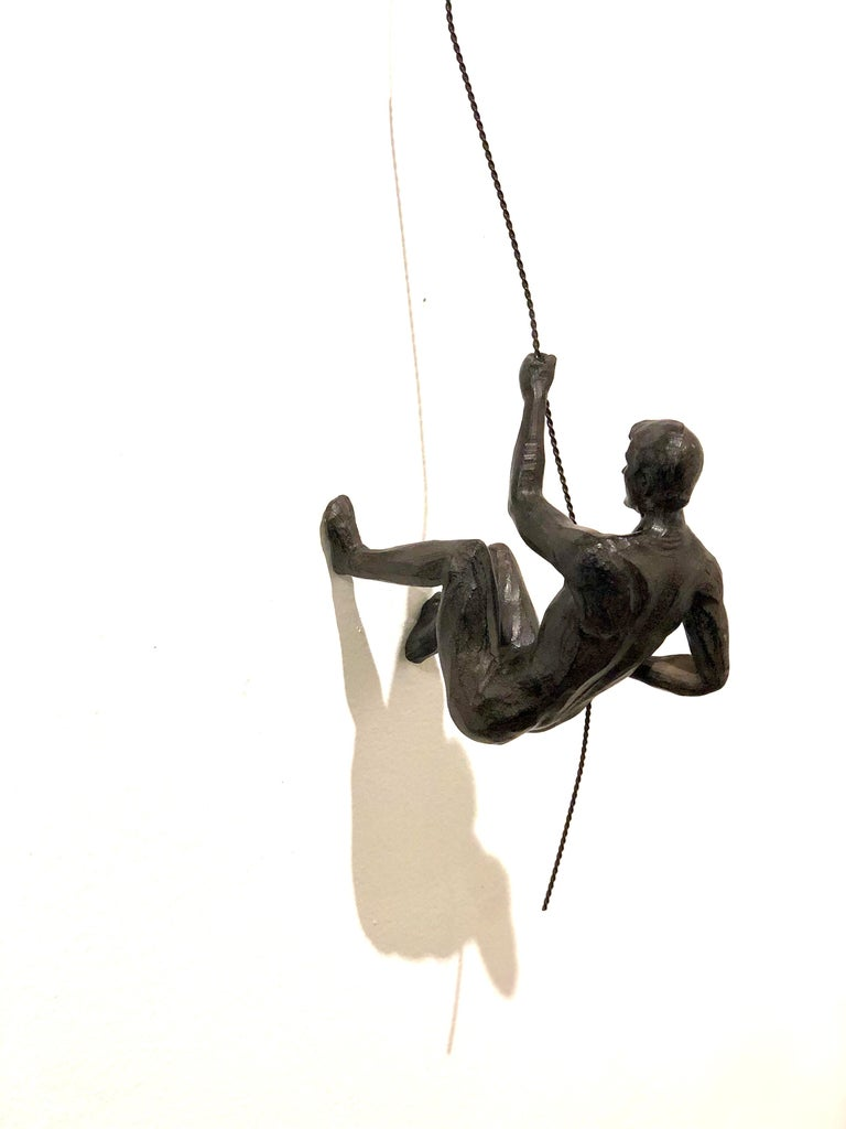 American Pair of Climbing Man Rapel Style Wall Hanging Sculpture For Sale