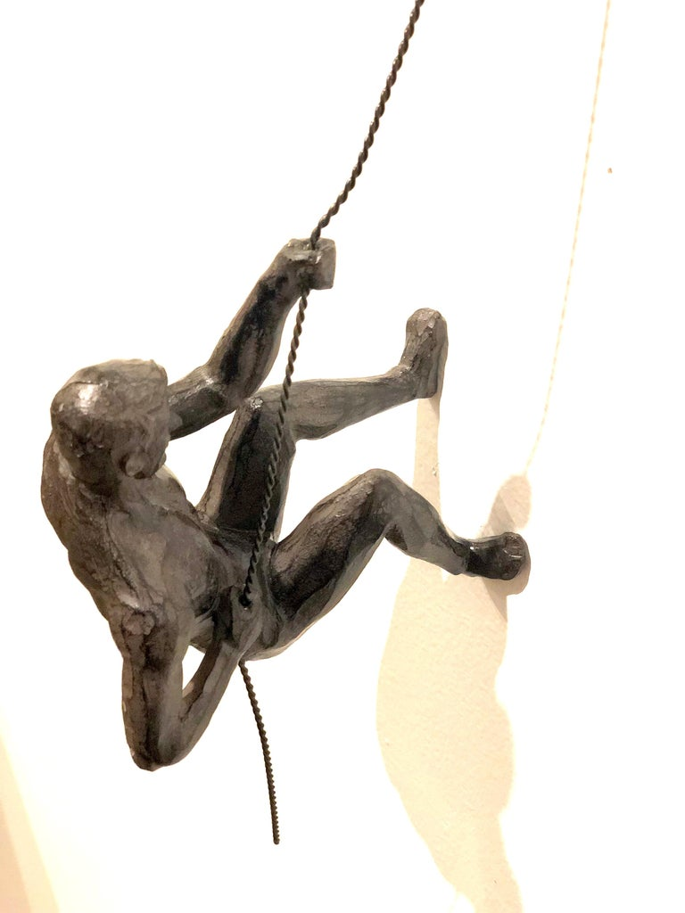 20th Century Pair of Climbing Man Rapel Style Wall Hanging Sculpture For Sale