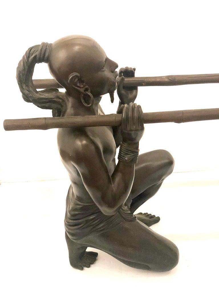 Hollywood Regency Striking Pair of Bronze Sculptures Bases For Sale