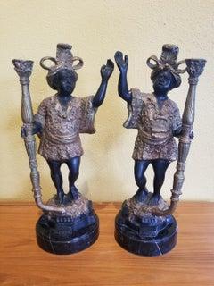 Pair of Bronze Blackamoor Candle Holders by Auguste Moreau