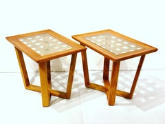 Pair of Rare Wood & Brass Mid century Modern End Tables