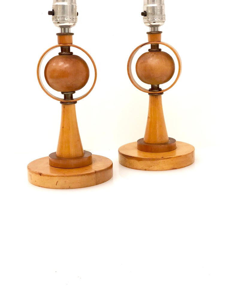 Nice pair of small table lamps in solid wood, in working condition circa 1950s solid wood details, no lamp shades. 11
